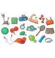 sport equipment set physical activity inventory vector image
