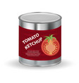 tomato ketchup tomato paste in a tin can 3d vector image