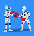 two robots are boxing on ring isolated vector image vector image
