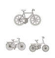 various bicycles outline icons in set collection vector image