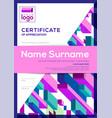 vertical modern certificate completion vector image vector image