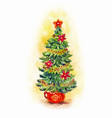 watercolor fir-tree nee year with christmas tree vector image vector image
