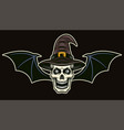 witch skull with bat wings colored vector image
