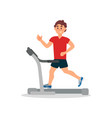 young man training on treadmill physical activity vector image vector image