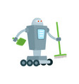 robot cleaner home assistant with broom shovel vector image