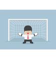 Businessman playing goalkeeper vector image