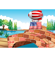A balloon and the flag of the United States above vector image vector image