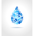 Abstract blue water drop made from hands vector image