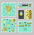 abstract cards with golden glitter texture cactus vector image