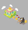 bank hacking concept isometric vector image