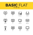 Basic set of TV icons vector image vector image