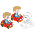 Boy driver vector image vector image