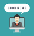 Business man from monitor screen talk good news vector image vector image