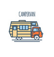 campervan thin line flat design vector image