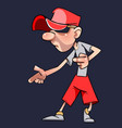 cartoon guy in the cap plays or dances vector image vector image