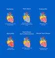 cartoon heart disease set vector image vector image