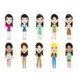 casual set woman characters with long hair in vector image vector image