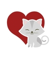 cat clossed eyes red heart vector image vector image