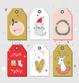 christmas new year gift tags collection vector image vector image