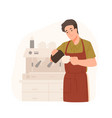cute barista making cappuccino at cafe or vector image