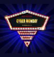 cyber monday retro light frame vector image vector image