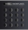 Dark gloss snowflakes icons set
