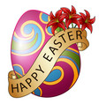 easter eggs decorated with brown ribbon and flower vector image