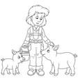 farmer feeding pigs vector image vector image