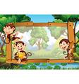 Frame design with monkeys in jungle vector image vector image