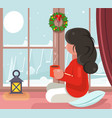 girl sit window snow winter background hot drink vector image