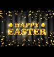 gold happy easter balloon drawn on black vector image vector image
