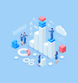 isometric web banner data analysis and statistics vector image