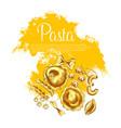 italian pasta and spaghetti sketch poster design vector image vector image