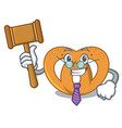 judge pretzel mascot cartoon style vector image vector image