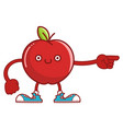 kawaii smiling red apple fruit with sneakers vector image