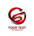 letter s logo design template colored silver red vector image