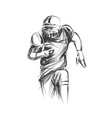 line sketch of american football player vector image vector image