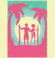 lovely couple of surfers and blue sea waves vector image