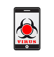 mobile phone with virus vector image vector image