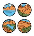 mountain landscape icon set vector image vector image