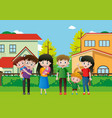 people in family on the grass vector image