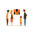 people looking at painting hanging on the wall vector image vector image