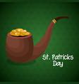 pipe leprechaun saint patrrick day vector image
