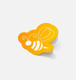 realistic paper sticker bee vector image vector image