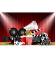 red curtain cinemas films on stage vector image