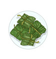 rice in banana leaves hand drawn vector image vector image