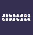 set cute funny happy ghosts childish spooky vector image