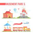 set of amusement park elements - modern vector image vector image