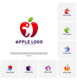 set of apple with fun people healthy life logo vector image vector image