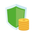 shield and coins icon vector image vector image